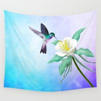 hummingbird Wall Tapestries featuring hummingbird. by haroulita
