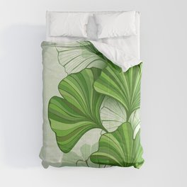 Green Background with Leaves of Ginkgo Biloba Comforters