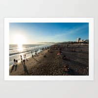 santa monica Art Prints featuring Santa Monica by felipealmeidaphoto