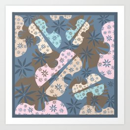 Flower Cello Violin Viola Pattern in blues and pinks Art Print