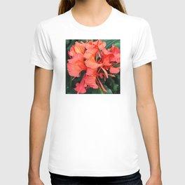 Firecracker Red Jungle Tropical Flower T-shirt