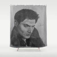 winchester Shower Curtains featuring Dean Winchester by DustyRoseArt