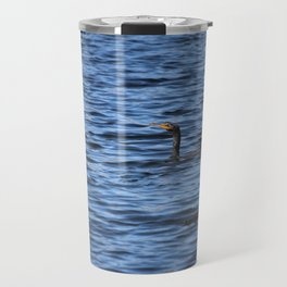 Cormorant Floats In The Blue Water Travel Mug