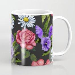 Flowers on Black Background, Original Art Coffee Mug
