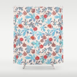 Watercolor Fruit Figs and Leaves Shower Curtain