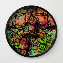 Cracks And Colour - Pastel orange, blue and green abstract with black marble effect Wall Clock