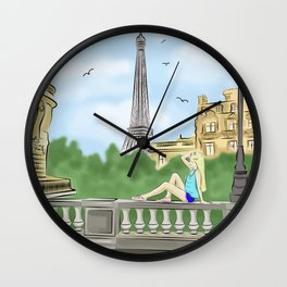 Sunny day in Paris Wall Clock