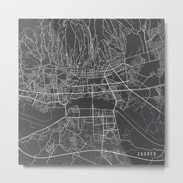 Zagreb Map, Croatia - Gray Metal Print