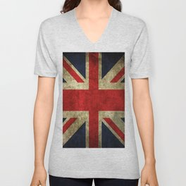 GRUNGY BRITISH UNION JACK  DESIGN ART Unisex V-Neck