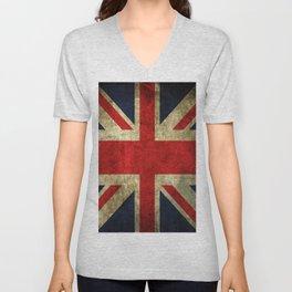 GRUNGY BRITISH UNION JACK  DESIGN ART Unisex V-Neck