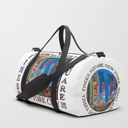 Times Square & Broadway (poster on white) Duffle Bag