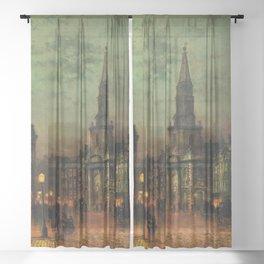 Classical Masterpiece 'Blackman Street, London' by John Atkinson Grimshaw Sheer Curtain