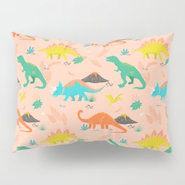 Jurassic Dinosaurs on Peach Pillow Sham
