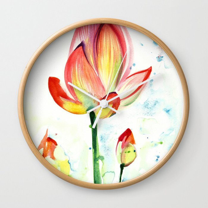 LOTUS FLOWER WITH BUDS Watercolor Wall Clock