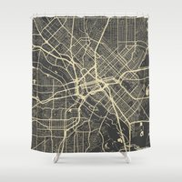 dallas Shower Curtains featuring Dallas map by Map Map Maps