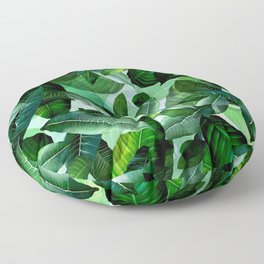 Banana palm leaf tropical jungle green Floor Pillow