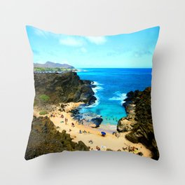 Halona Beach Cove ... By LadyShalene Throw Pillow