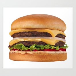 Hamburger - Double Double Cheeseburger,  with lettuce and Onions Art Print