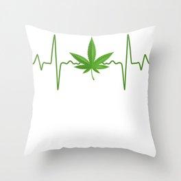 Marijuana Heartbeat Throw Pillow