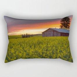 Red Sky over Canola Rectangular Pillow