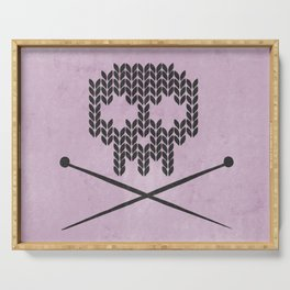 Knitted Skull (Black on Pink) Serving Tray