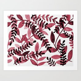 Watercolor branches - red Art Print
