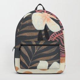 Dark Tropical Foliage with Polka dots Backpack