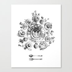 Who's Up for Tea? (Black and White) Canvas Print