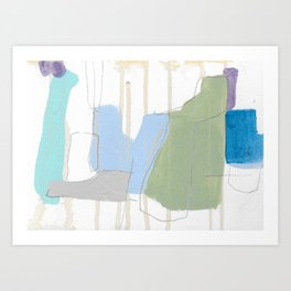 stone by stone 1 - abstract art fresh color turquoise, mint, purple, white, gray Art Print