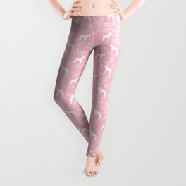 Schnauzer floral silhouette pattern schnauzers minimal pink dog art Leggings