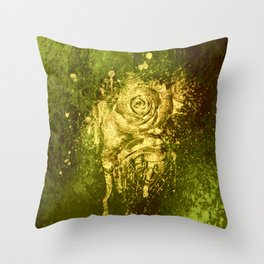 golden rose on green Throw Pillow