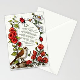 Bible Verses About LOVE, With Bird, Ladybugs, and Floral Art Stationery Cards
