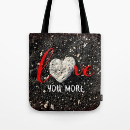 "Coral rock heart on Hawaii black sand | ""Love you more"" Tote Bag"