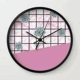 Succulents geometric composition - Antique Pink Wall Clock