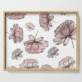 Hand Drawn Peonies Dusty Rose Serving Tray