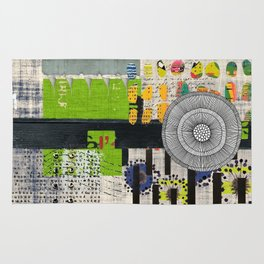 Lime & Navy Abstract Art Collage Rug