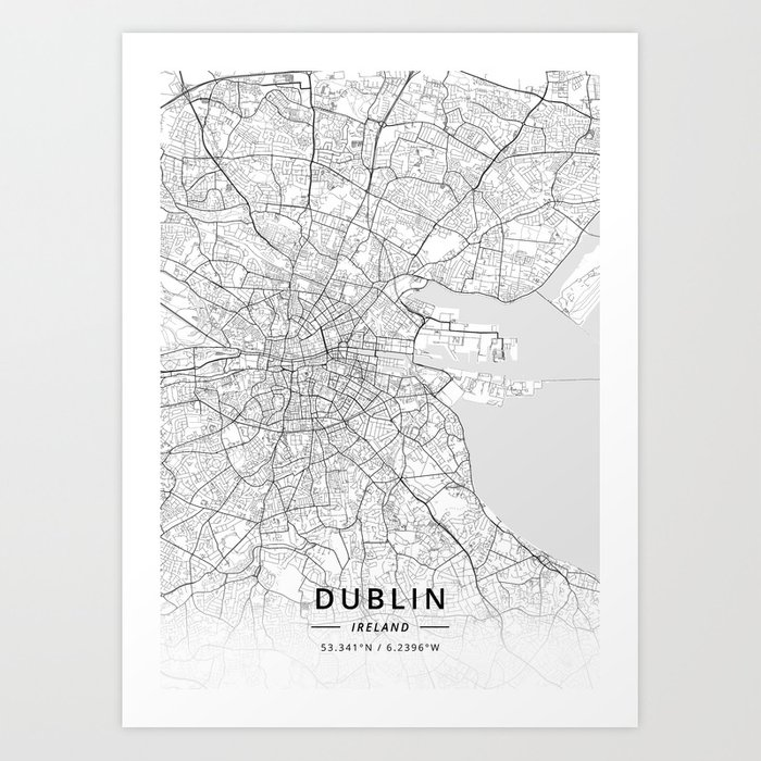 Map Of Dublin 6 Ireland.Dublin Ireland Light Map Art Print By Designermapart Society6