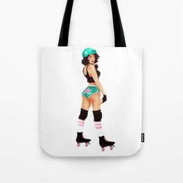 Retro Pinup Roller Derby Girl Tote Bag