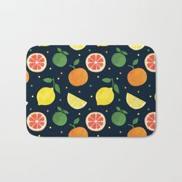 Modern navy blue orange yellow fruit polka dots Bath Mat