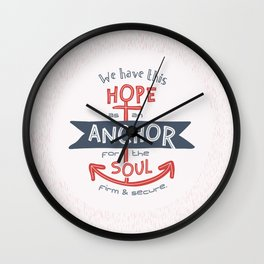 """Anchor for the Soul"" Hand-lettered Bible Verse Wall Clock"