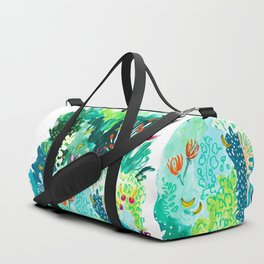 Twice Last Wednesday: Abstract Jungle Botanical Painting Duffle Bag