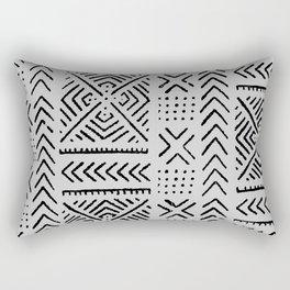 Line Mud Cloth // Light Grey Rectangular Pillow