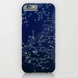 French January Star Map in Deep Navy & Black, Astronomy, Constellation, Celestial iPhone Case