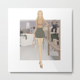 Stylized Signature Shopping Fashion Illustration A Metal Print