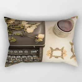 Little roses over an old typewriter and tea (Retro and Vintage Still Life Photography) Rectangular Pillow