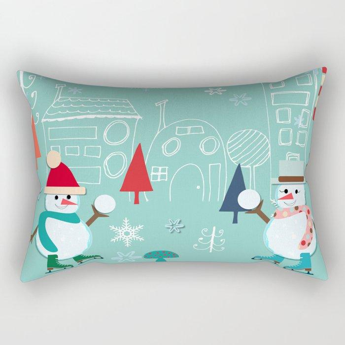 winter fun blue Rectangular Pillow