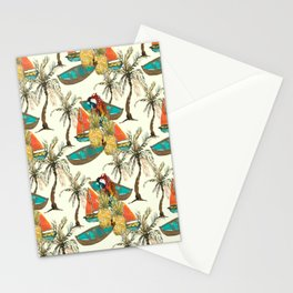 Tropical summer outdoor activity 2021 pattern design Stationery Cards