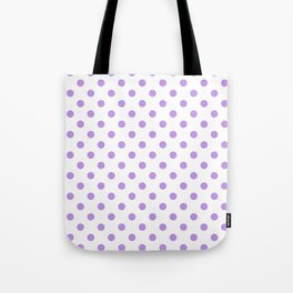 Small Polka Dots - Light Violet on White Tote Bag