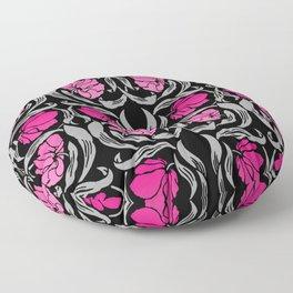 William Morris Pimpernel, Fuchsia Pink and Black Floor Pillow