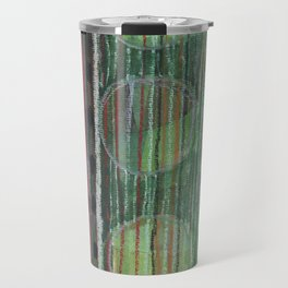 Dark Folcloristic Pattern With Vertical Stripes And Ovals  Travel Mug